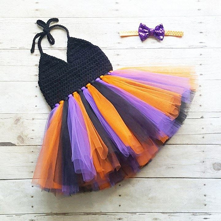 Crochet Halloween Tutu Dress Sequin Sparkle Bow Headband Set Newborn Baby Infant…