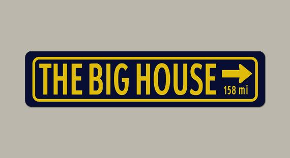 17$ with blue background The Big House University of Michigan Colors by PunkinPieArt