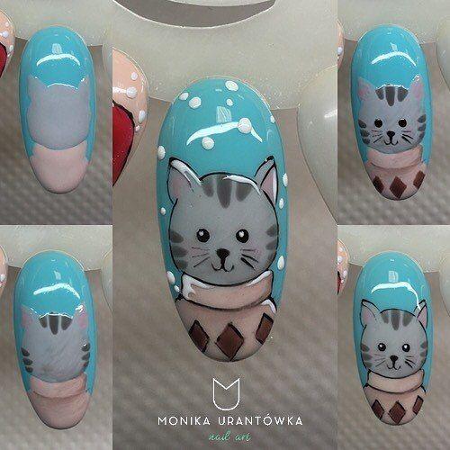 CUTE cat nail art tutorial. Easy nail art ideas #nailart #unas