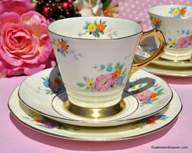 Tuscan Art Deco large teacup, saucer and tea plate trio. c.1936