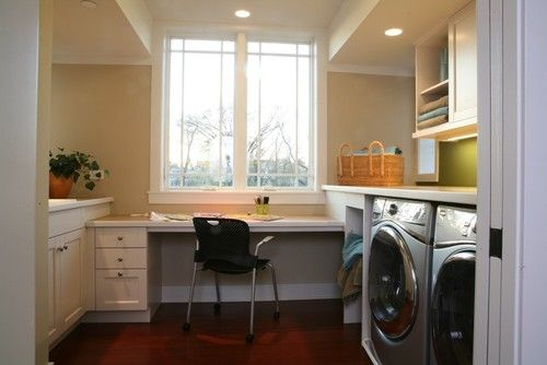 Multi-use space: Laundry room with built in desk and I'd add pantry shelving/cabinetry on the opposite wall.