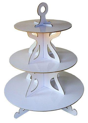 Elegance blanco 3 Tier papel soporte de la torta por AranyloPaper
