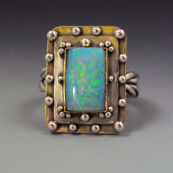 Rectangular Opal Ring by danaevansstudio on Etsy, $235.00