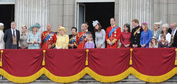 """Queen Elizabeth II and Duke of Edinburgh at the """"Trooping the Colour"""" birthday celebrations in London with aerial perfomance"""