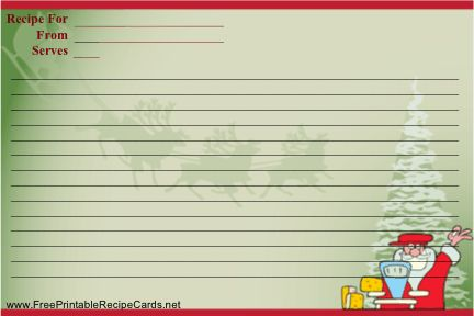 A playful Santa prepares to cook on this Christmas recipe card, which also pictures reindeer and a tree. Free to download and print