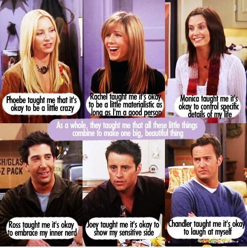 FRIENDS. I watch them almost everyday. Whoever made this, I totally agree. This show will never get old, neither will these people. So much love for this show. Lisa Kudrow, Jennifer Aniston, Courteney Cox, David Schwimmer, Matt LeBlanc & Matthew Perry