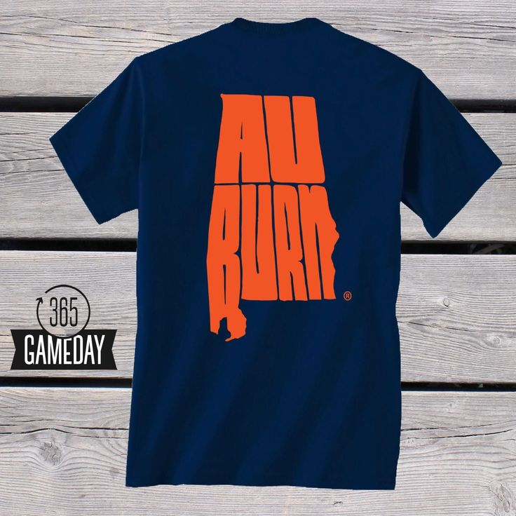 """We're proud to announce the exclusive """"365 Gameday"""" shirt! Take pride in your state and in your school. This """"Officially Licensed"""" Auburn Gameday shirt features the prominent outline of our state made"""