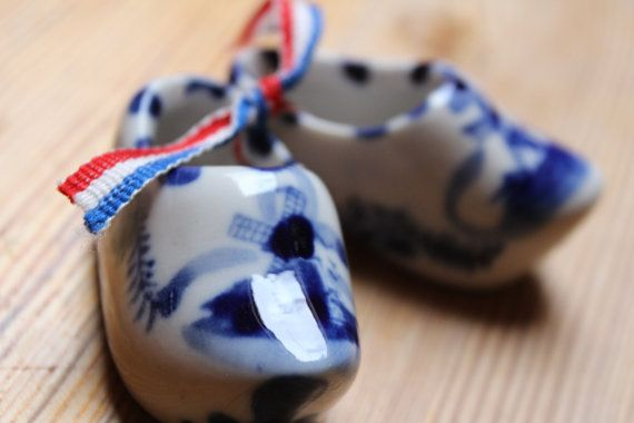 Blue white Clogs from Holland decorated with by AgelessTwist