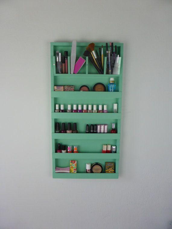 Make-up - Nagellack Rack - Veranstalter Bad Speicher - mintgrün - schäbig Chic…
