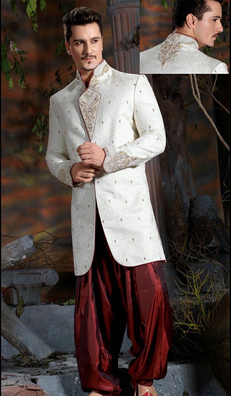 15 best images about groom dresses on pinterest dressing for Indo western wedding dress for men