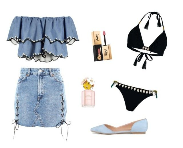 """feeling bluesss"" by nanaristha on Polyvore featuring Topshop, HUISHAN ZHANG, Hipanema, Yves Saint Laurent and Marc Jacobs"
