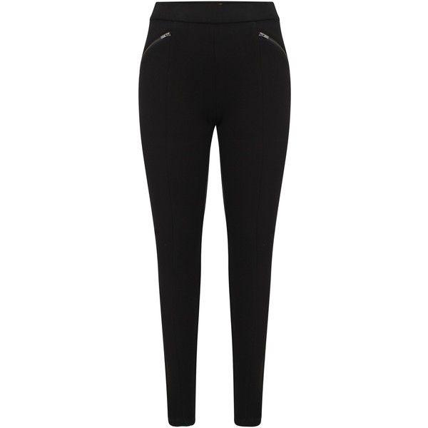 Celuu Zoe Zip Trim Treggings, Black ($31) ❤ liked on Polyvore featuring pants, leggings, plus size womens leggings, plus size trousers, creased pants, plus size leather pants and heavy leggings