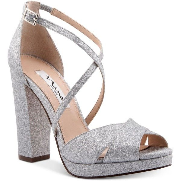 Nina Marylyn Platform Evening Sandals (295 BRL) ❤ liked on Polyvore featuring shoes, sandals, silver glitter, glitter sandals, silver dress sandals, strappy sandals, block heel sandals and strappy platform sandals