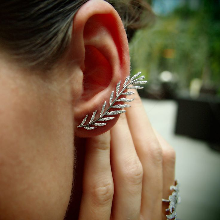 Diamond 'Fern' Earrings, Diamond & 18K White Gold, by Plukka