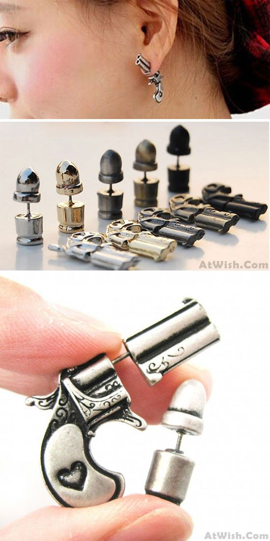 Punk Plated Gun Bullet Woman Killer Stud Earrings is so cute ! #gun #bullet #earrings #studs #punk