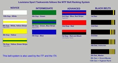 World TaeKwonDo Federation (WTF) belt ranking system...Carmen's 2nd gup (red).  Not too much longer!!