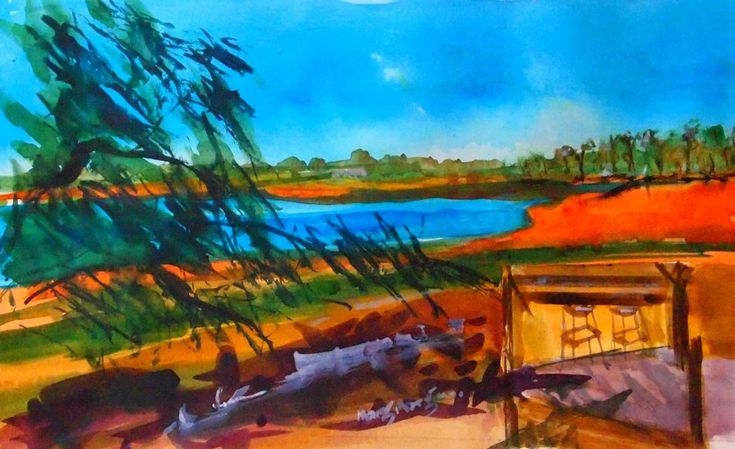"""""""Lake Eppalock at Knowsley - Central Victoria"""" by Margaret Morgan (Watkins). Paintings for Sale. Bluethumb - Online Art Gallery"""