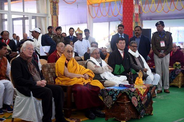 His Holiness the Dalai Lama with Chief Minister of Bihar, Shri Nitish Kumar, Sikyong Dr Lobsang Sangay and Richard Gere, longtime Tibet supporter during the closing ceremony of the34th Kalachakra Initiation at Bodh Gaya, 14 January 2017.