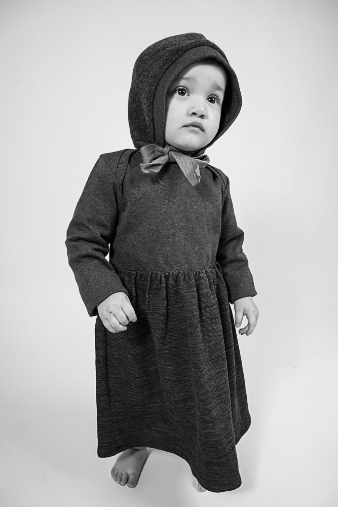 AAMcEvoy AW17 collection    |Long sleeved dress in Charcoal- Chest and sleeves in 100%Organic cotton, Skirt in 64%organic wool/36%Organic cotton  |MADE IN IRELAND|