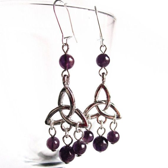 Triquetra Earrings Amethysts Gothic Wicca Occult by Lumissa