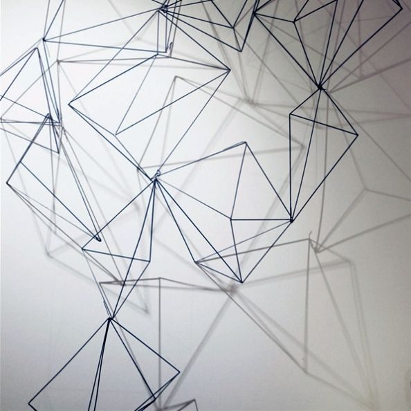 wire prism, wall art, wall sculpture, wire sculpture