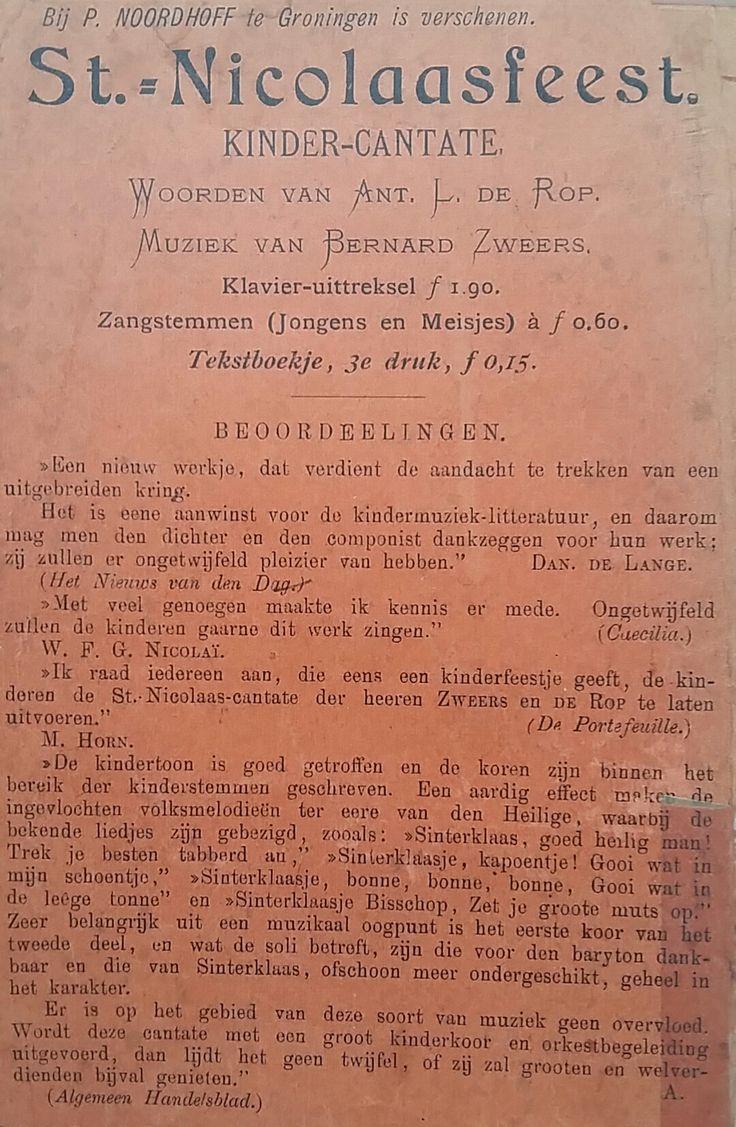 St. Nicolaasfeest (Kinder-Cantate) druk uit 1908. Achterkant met een beoordeling van het Algemeen Handelsblad.