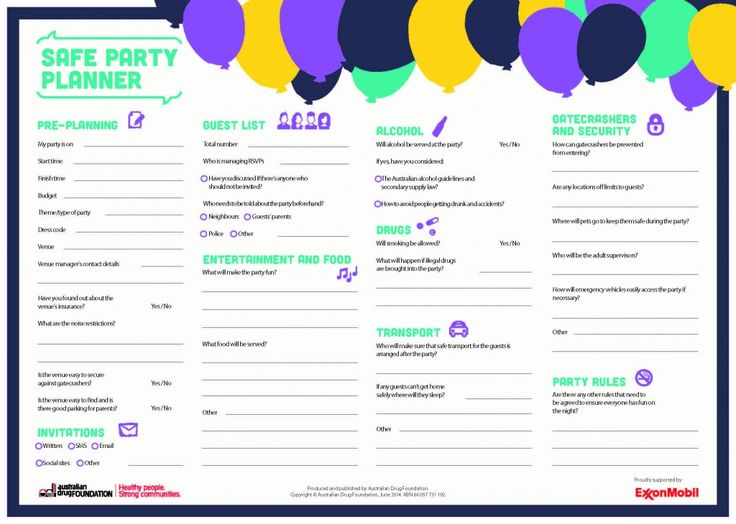 Safe party planner - This handy planner can be printed and used in the planning of a fun and safe party for your teenager. - See more at: http://theothertalk.org.au/safe-party-planner/#sthash.1UGqcToz.dpuf - The Other Talk - Let's talk about alcohol & drugs