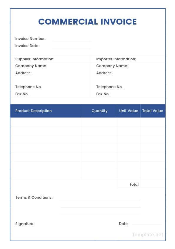 Free Sample Commercial Invoice USMAN Invoice template, Templates