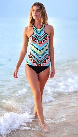 Seafolly tankini - Kasbah Nectarine Orange Aztec print swimwear - buy yours at cocobay.co.uk