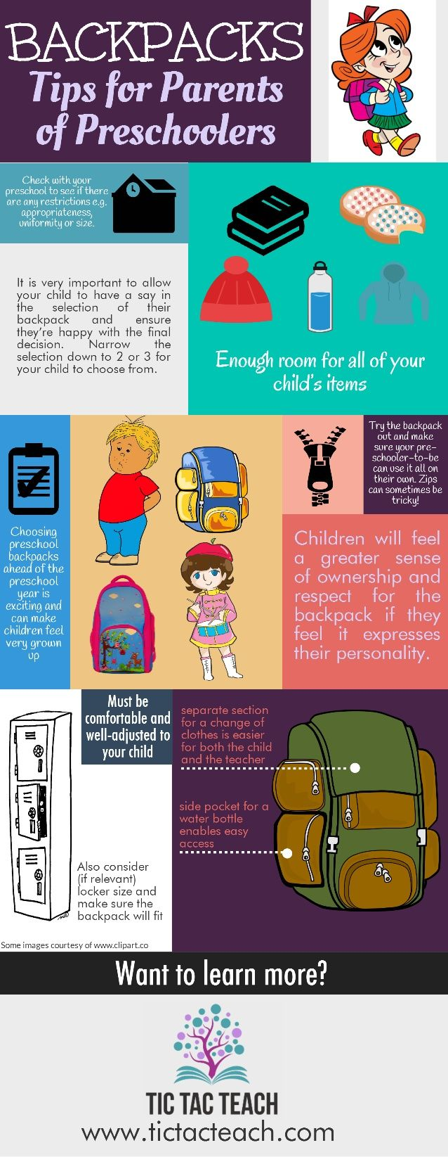 BACKPACKS  Tips for Parents of Preschoolers                     It is very important to allow  your child to have Cl say i...