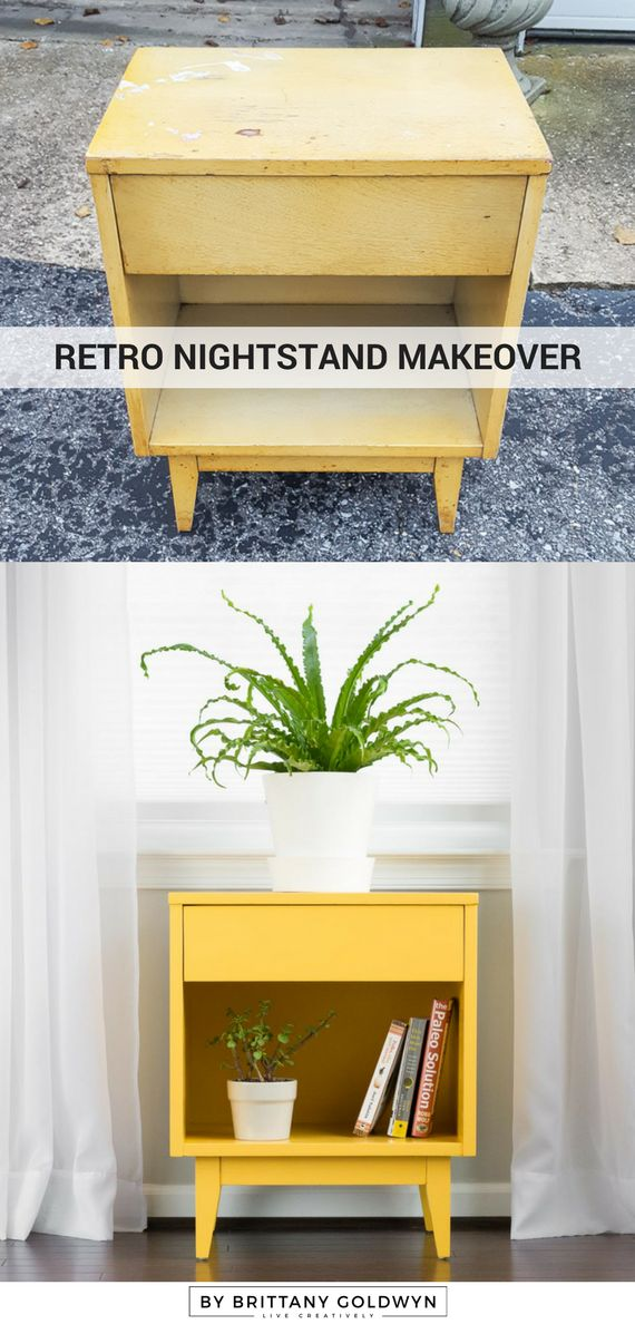 Retro Nightstand Makeover // DecoArt Satin Enamels Honey Gold