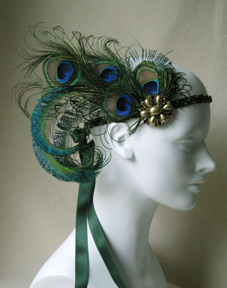 Accessoires Paon - Coiffe en plumes de Paon style Années Folles - Baroque and Rolls