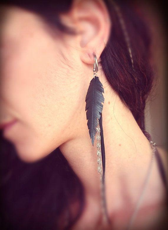 Upcycled Inner Tube Earrings  Vegan Feathers  Boho by MorganaCrea