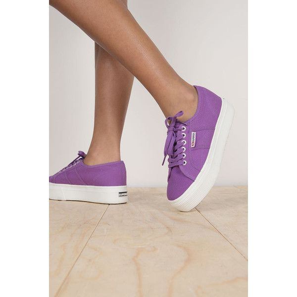 Superga Platform Purple Trainer ($88) ❤ liked on Polyvore featuring shoes, sneakers, platform shoes, chunky shoes, cross trainers, platform sneakers and superga sneakers