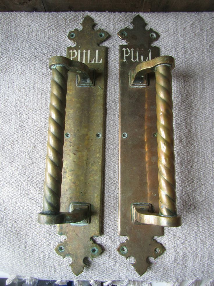 Large Salvaged Antique Brass Door Handles From Hotel Pull