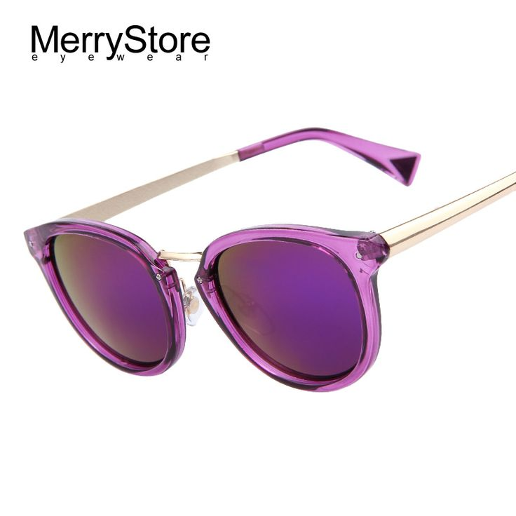 MERRYSTORE Brand Designer Fashion Women Purple Mirroed Sunglasses Women Dazzle Colour Frame Mirror Lens Cat Eye Sunglasses-in Sunglasses from Women's Clothing & Accessories on Aliexpress.com | Alibaba Group  #sunglasses #sale #discount #aliexpress
