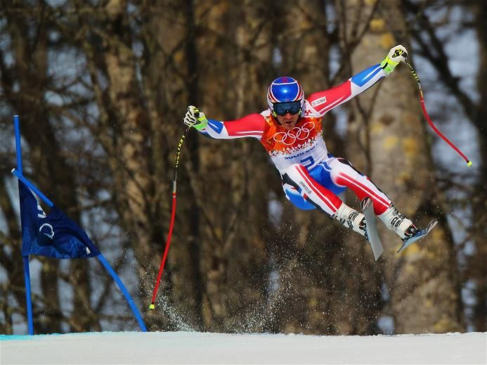 DAY 10:  Thomas Mermillod Blondin of France competes during the Alpine Skiing Men's Super-G