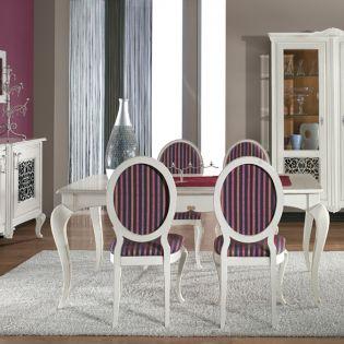 Dining Alb C2 Venezia – Bufet, Masa, Scaune, Vitrina