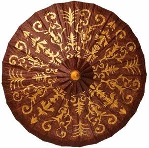 Chocolate Brown 28 Inch Gilded Parasol (henna design)