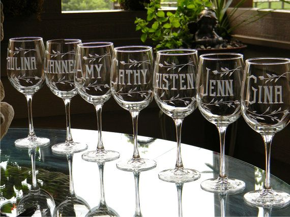 Bridesmaid Wine Glasses Personalized with Name on by glassgirljen