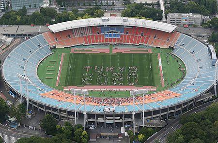 25日、東京・国立競技場最後の公式試合となるアジア5カ国対抗ラグビー日本-香港戦を前に、2020年東京五輪・パラリンピックをPRする「TOKYO 2020」の人文字が作られた。(時事通信ヘリより) ▼25May2014時事通信|東京2020の人文字=寂しい惜別イベント-国立競技場 http://www.jiji.com/jc/zc?k=201405/2014052500112 #National_Stadium_Tokyo
