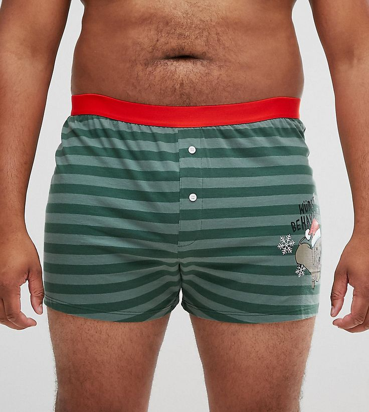 ASOS PLUS Jersey Boxers With Holidays Sausage Dog Print SAVE - Multi