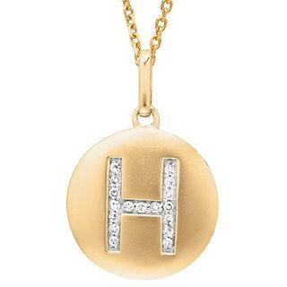 14k Yellow Gold Diamond Initial Monogram Disc Necklace | Overstock.com