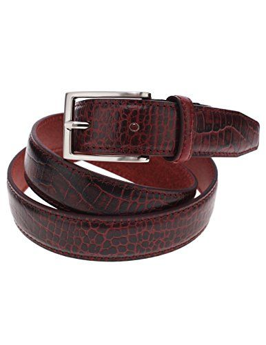 FLATSEVEN Mens Genuine Leather Crocodile Skin Embossed Silver Buckle Classic Belt (Y409), Wine  #FLATSEVEN #Men #clothing #fashion #outfits #belts #accessories