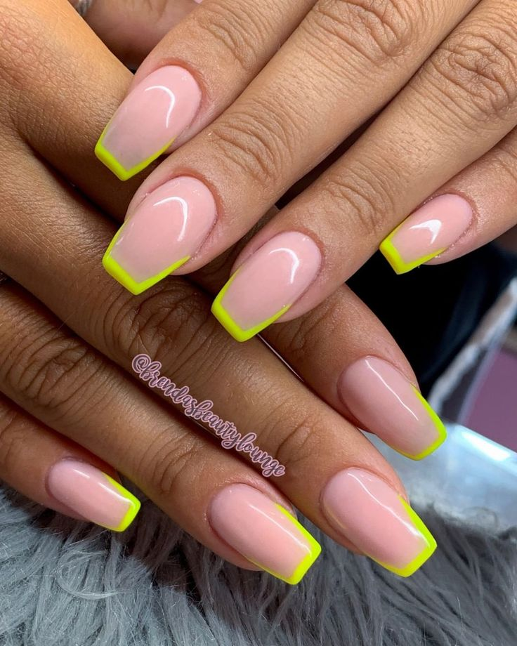 neon outline nails coffin nails summer nail designs