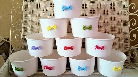 20 Colourful bow-tie white paper 8oz/200ml ice-cream cup