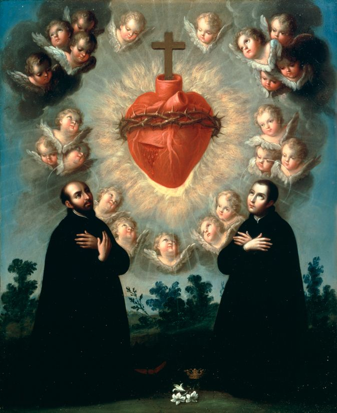 The Sacred Heart of Jesus with Saint Ignatius of Loyola and Saint Louis Gonzaga, c.1770José de Páez, Mexico, 1727-1790