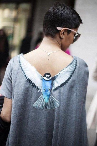 inspiration: t-shirt bird low cut back