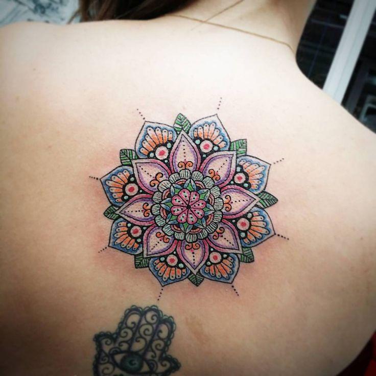 mandala tattoo in colors on back
