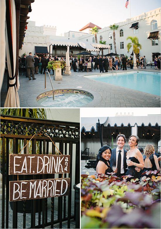 pool side wedding reception at Casa Monica Hotel